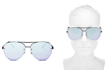 Quay Cool Innit Mirrored Brow Bar Aviator Sunglasses, 56mm - Bloomingdale's_2