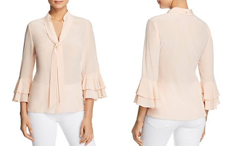 Badgley Mischka Silk Tiered Ruffle-Sleeve Top - Bloomingdale's_2