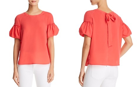 FRENCH CONNECTION Puff-Sleeve Crepe Top - Bloomingdale's_2