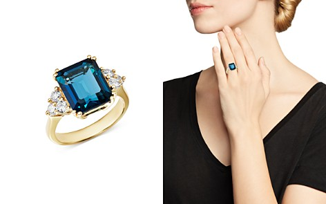 Bloomingdale's Emerald-Cut London Blue Topaz & Diamond Statement Ring in 14K White Gold - 100% Exclusive _2