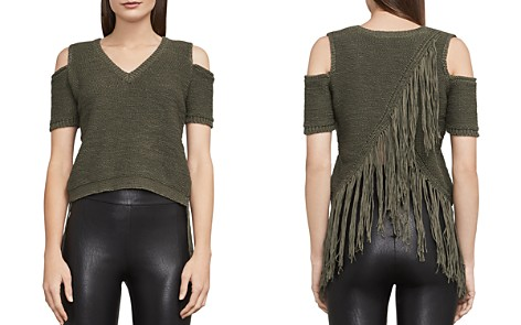 BCBGMAXAZRIA Joanne Fringed Cold-Shoulder Cropped Top - Bloomingdale's_2
