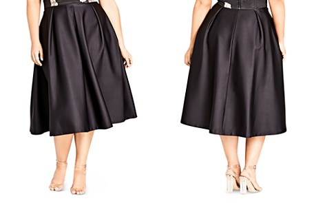 City Chic Plus Sateen Pleated Midi Skirt - Bloomingdale's_2