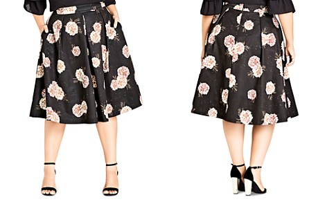 City Chic Plus Antique Rose Pleated Midi Skirt - Bloomingdale's_2