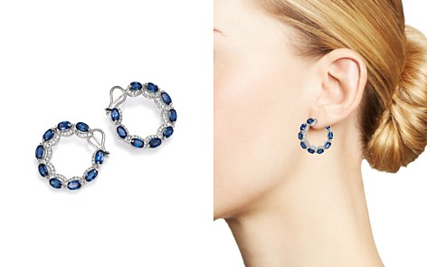 Bloomingdale's Sapphire & Diamond Hoop Front Earrings in 14K White Gold - 100% Exclusive _2