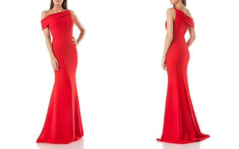 Carmen Marc Valvo One-Shoulder Crepe Gown - Bloomingdale's_2