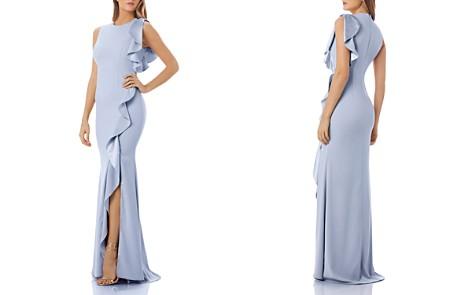 Carmen Marc Valvo Ruffled Crepe Gown - Bloomingdale's_2