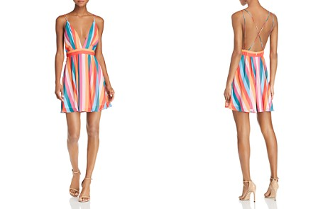 AQUA Rainbow-Stripe Mini Dress - 100% Exclusive - Bloomingdale's_2