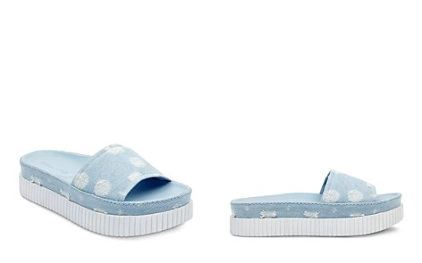 KENDALL and KYLIE Isla Dot-Distressed Denim Slide Sandals - 100% Exclusive - Bloomingdale's_2