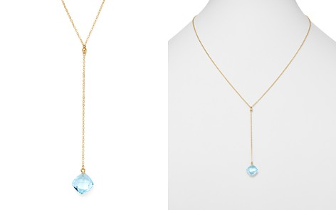 """Bloomingdale's Blue Topaz Y Necklace in 14K Yellow Gold, 22"""" - 100% Exclusive _2"""