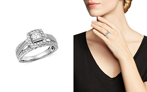 Bloomingdale's Princess-Cut Diamond & Raised Halo Engagement Ring in 14K White Gold, 1.0 ct. t.w. - 100% Exclusive _2