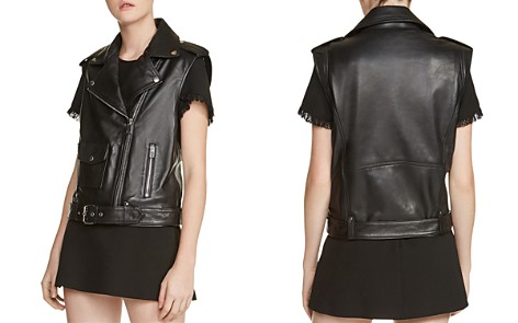 Maje Baldwin Leather Moto Vest - Bloomingdale's_2