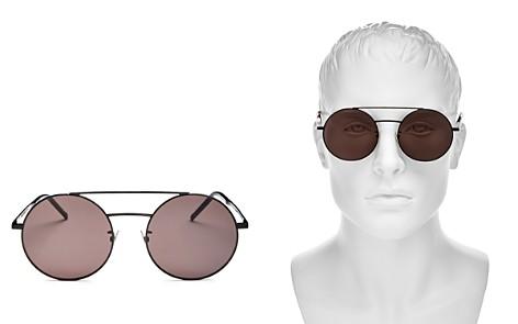 Saint Laurent Brow Bar Round Sunglasses, 56mm - Bloomingdale's_2