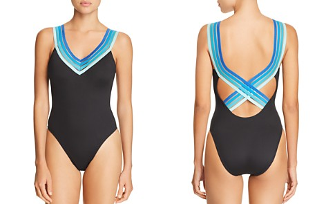 Kenneth Cole V-Neck One Piece Swimsuit - Bloomingdale's_2