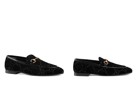 Gucci Women's New Jordaan Velvet Logo Loafers - Bloomingdale's_2