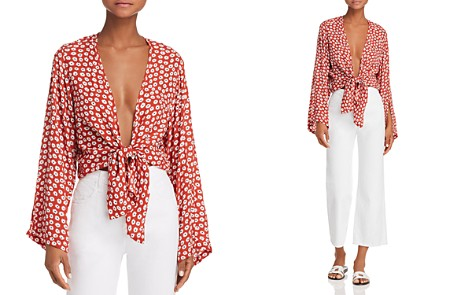 Faithfull the Brand Teguise Plunging Tie-Front Top - Bloomingdale's_2