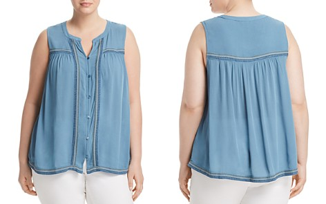 Lucky Brand Plus Embroidered Button-Front Tank - Bloomingdale's_2