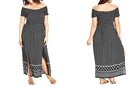 c1c8283e37e City Chic Plus Smocked Off-the-Shoulder Maxi Dress - Bloomingdale s 2