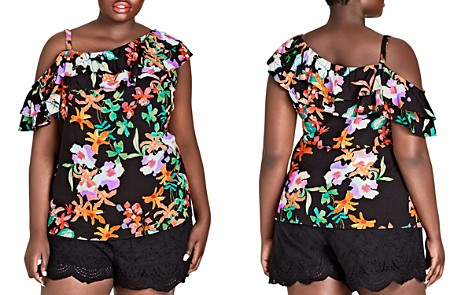 City Chic Plus Molokai Floral One-Shoulder Top - Bloomingdale's_2