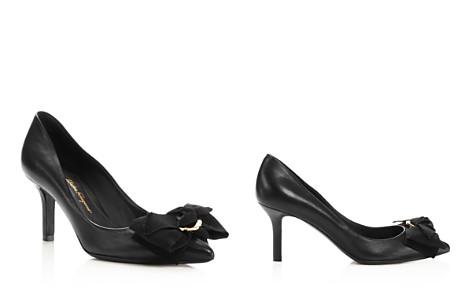 Salvatore Ferragamo Women's Talla Leather & Grosgrain Bow Pumps - Bloomingdale's_2