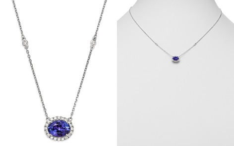 "Bloomingdale's Tanzanite Oval & Diamond Halo Pendant Necklace in 14K White Gold, 18"" - 100% Exclusive _2"