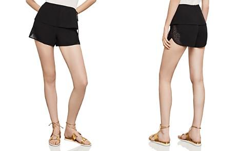BCBGMAXAZRIA Satin-Back Crêpe & Lace Shorts - Bloomingdale's_2