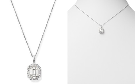 Bloomingdale's Diamond Mosaic & Halo Pendant Necklace in 14K White Gold, 1.0 ct. t.w. - 100% Exclusive _2