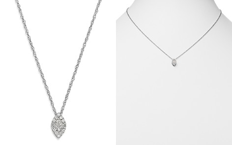 Bloomingdale's Princess-Cut Diamond & Pavé Marquis Pendant Necklace in 14K White Gold, 0.25 ct. t.w. - 100% Exclusive _2