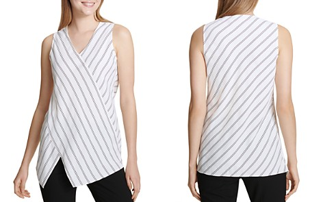 Calvin Klein Sleeveless Asymmetric Pinstriped Top - Bloomingdale's_2