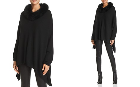 C by Bloomingdale's Fox Fur-Trim Cashmere Poncho - 100% Exclusive _2