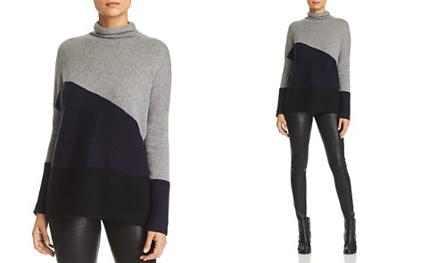 C by Bloomingdale's Rib-Knit Detail Color-Block Cashmere Sweater - 100% Exclusive _2