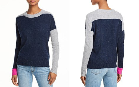 AQUA Cashmere Color-Block Cashmere Sweater - 100% Exclusive - Bloomingdale's_2