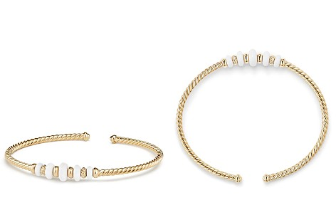 David Yurman Rio Rondelle Cabled Cuff Bracelet with White Agate in 18K Yellow Gold - Bloomingdale's_2