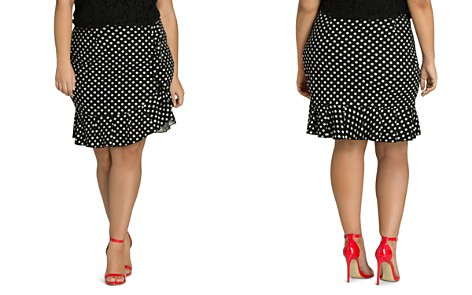 City Chic Plus Dotted Faux-Wrap Ruffle Skirt - Bloomingdale's_2