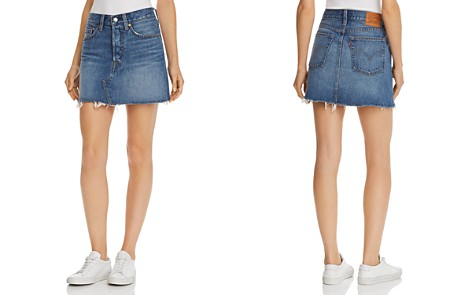 Levi's Deconstructed Denim Mini Skirt in Middle Man - Bloomingdale's_2