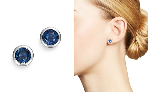 Bloomingdale's Blue Sapphire Bezel Stud Earrings in 14K White Gold - 100% Exclusive _2