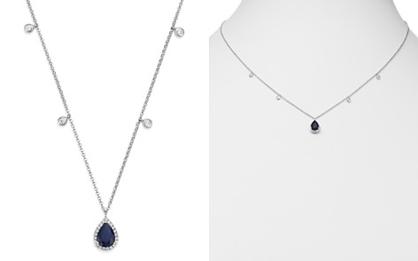 """Bloomingdale's Blue Sapphire & Diamond Charm Necklace in 14K White Gold, 18"""" - 100% Exclusive_2"""