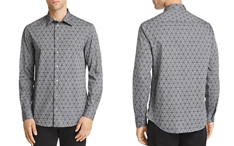 Emporio Armani Flocked Triangle Regular Fit Button-Down Shirt - Bloomingdale's_2