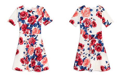 AQUA Girls' Floral A-Line Dress, Big Kid - 100% Exclusive - Bloomingdale's_2