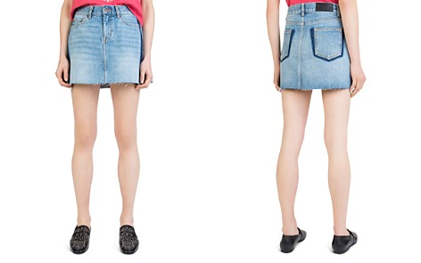 The Kooples Frayed Side-Stripe Denim Mini Skirt - Bloomingdale's_2
