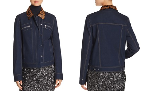 Lafayette 148 New York Kesha Leopard-Collar Denim Jacket - Bloomingdale's_2