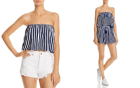 AQUA Strapless Striped Cropped Top - 100% Exclusive - Bloomingdale's_2