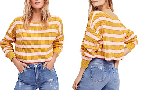 Free People Just My Stripe Cropped Sweater - Bloomingdale's_2