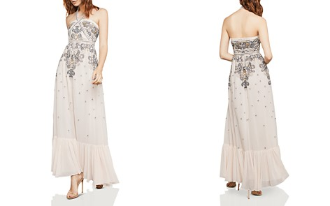 BCBGMAXAZRIA Paisley Embroidered Halter Gown - Bloomingdale's_2
