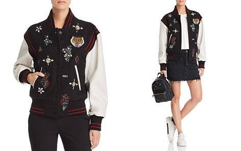 Joie Asuna Leather-Sleeve Embellished Bomber Jacket - Bloomingdale's_2