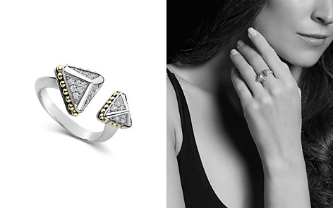 LAGOS 18K Yellow Gold & Sterling Silver KSL Luxe Diamond Asymmetrical Pyramid Cuff Ring - Bloomingdale's_2
