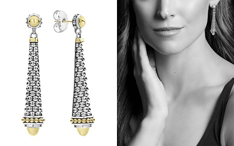LAGOS 18K Yellow Gold & Sterling Silver Signature Caviar Long Drop Earrings - Bloomingdale's_2