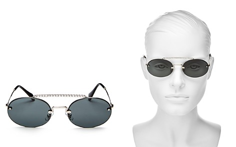 Miu Miu Women's Crystal Brow Bar Round Sunglasses, 54mm - Bloomingdale's_2