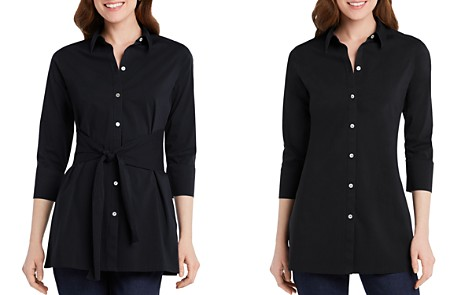 Foxcroft Michaela Button-Down Tie-Front Tunic Top - Bloomingdale's_2