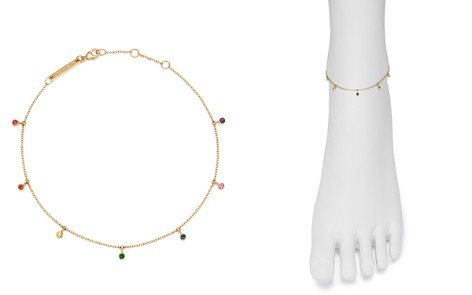 Zoë Chicco 14K Yellow Gold Rainbow Sapphire Dangle Anklet - Bloomingdale's_2