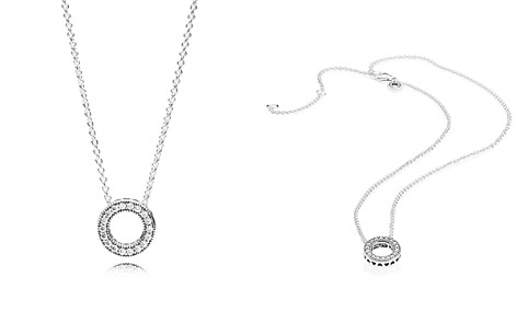 "PANDORA Sterling Silver & Cubic Zirconia Hearts of Pandora Necklace, 17.72"" - Bloomingdale's_2"